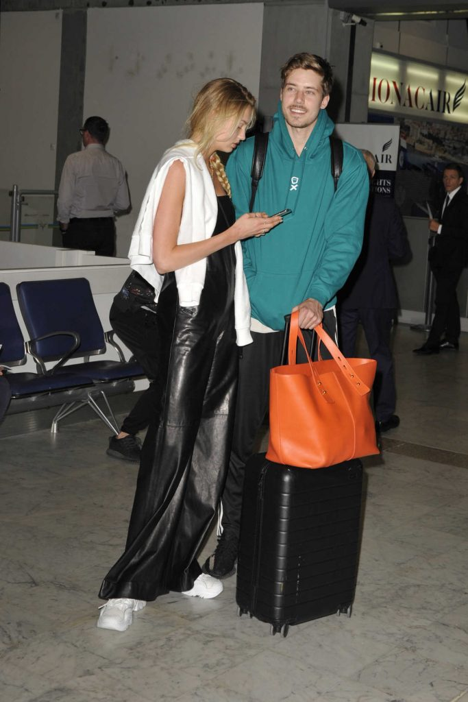 Romee Strijd Arrives with Her Boyfriend at Nice Airport in Nice 05/06/2018-4