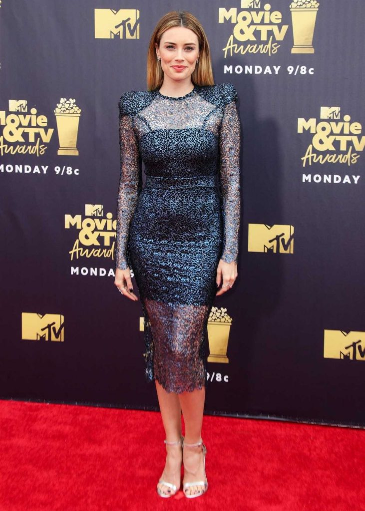 Arielle Vandenberg Attends the 2018 MTV Movie and TV Awards in Santa Monica 06/16/2018-1