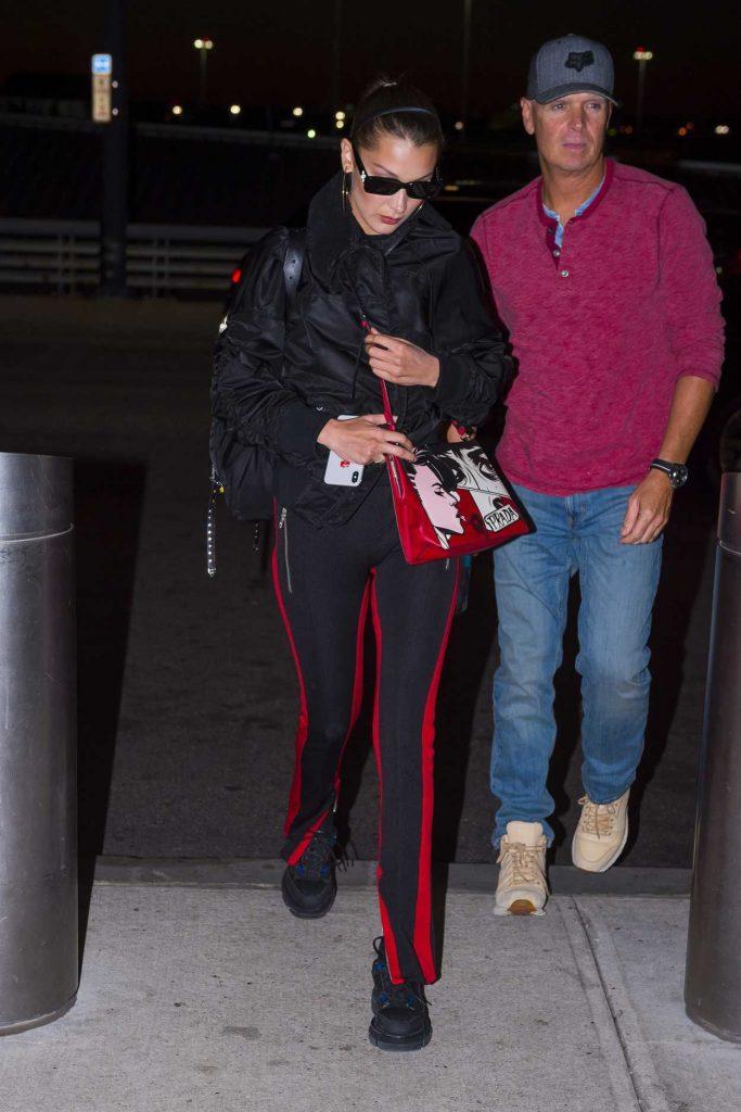 Bella Hadid Wears a Prada Handbag at JFK Airport in New York 06/14/2018-2