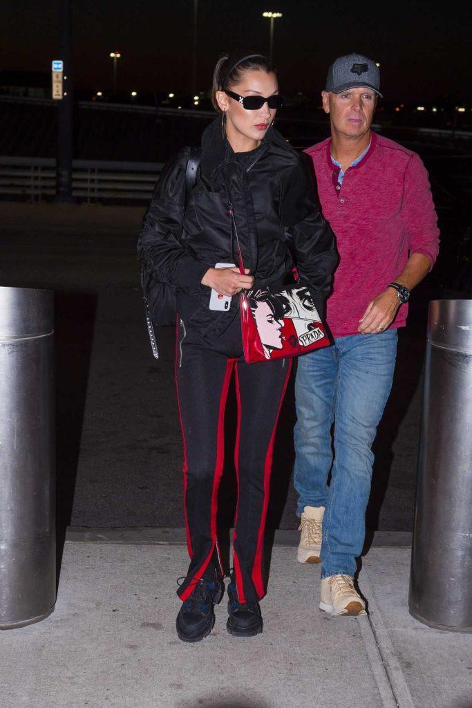 Bella Hadid Wears a Prada Handbag at JFK Airport in New York 06/14/2018-3