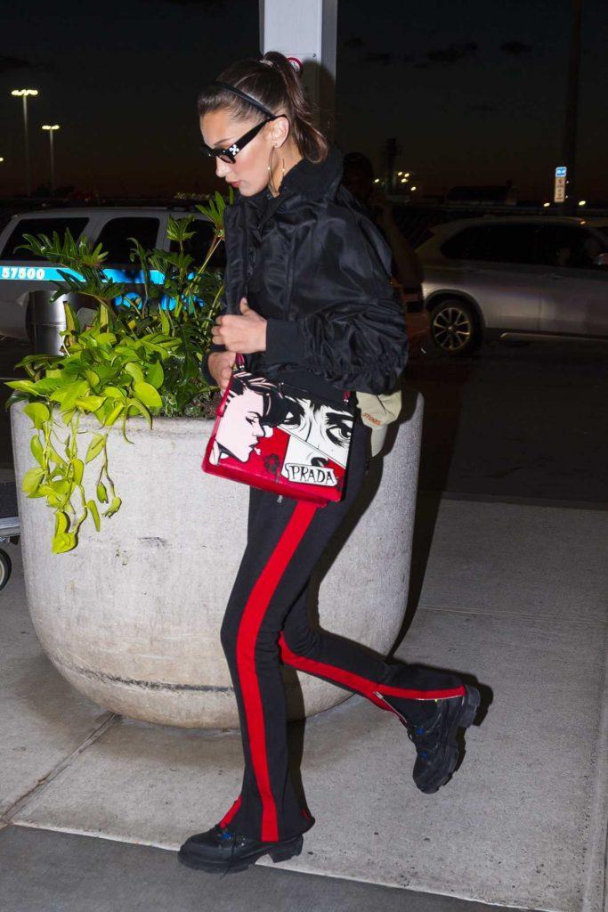 Bella Hadid Wears a Prada Handbag at JFK Airport in New York 06/14/2018-5