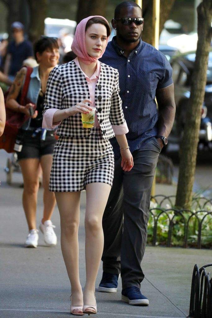 Rachel Brosnahan on the Set of The Marvelous Mrs. Maisel in New York City 06/14/2018-1