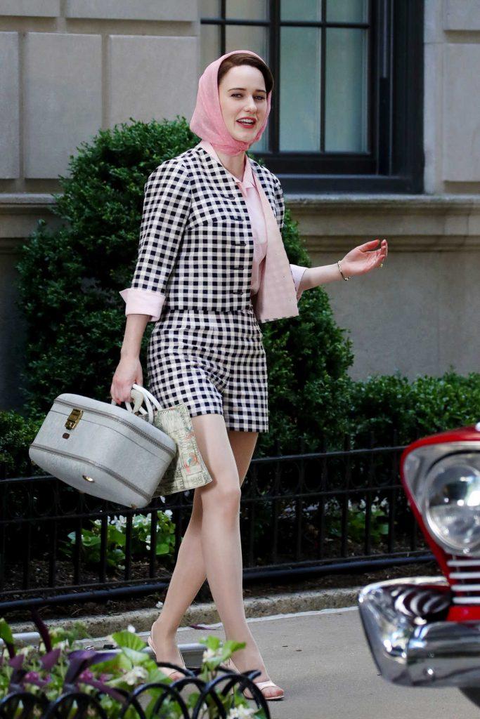 Rachel Brosnahan on the Set of The Marvelous Mrs. Maisel in New York City 06/14/2018-2