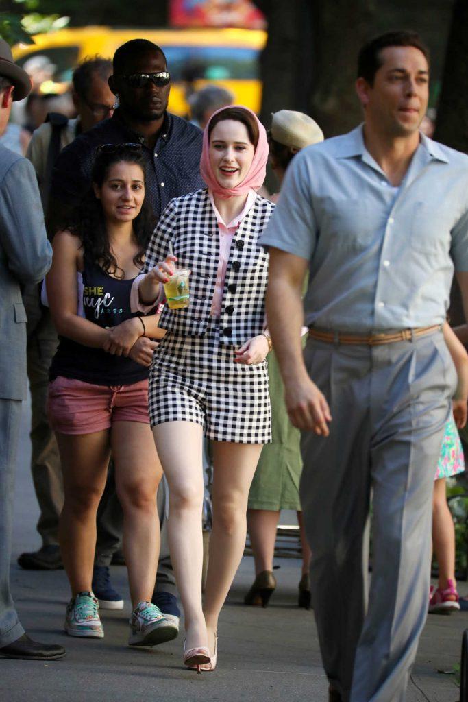 Rachel Brosnahan on the Set of The Marvelous Mrs. Maisel in New York City 06/14/2018-3
