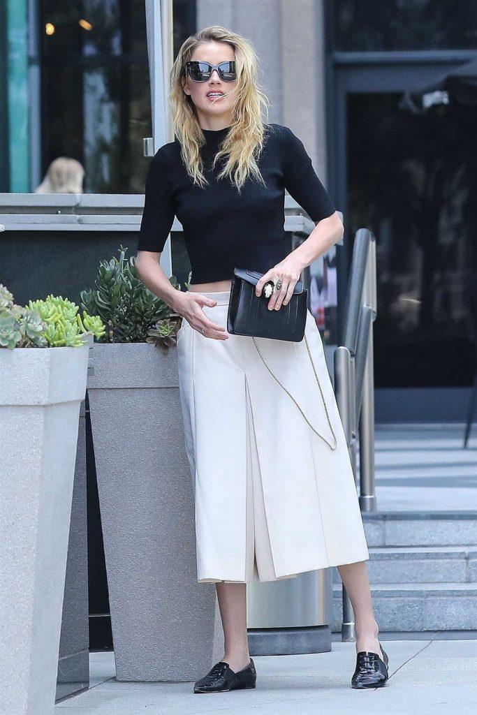 Amber Heard in a Long White Skirt