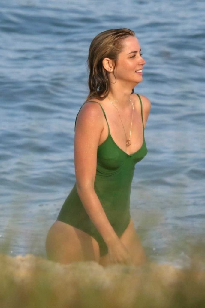 Ana de Armas in a Green Swimsuit