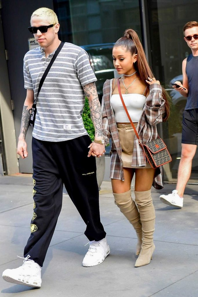 Ariana Grande in a Large Checkered Shirt Goes Shopping at Barney's New York Out with and Pete Davidson in New York City 07/16/2018-3