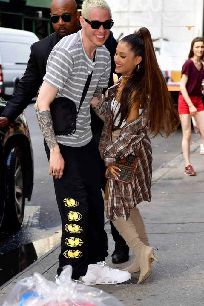 Ariana Grande in a Large Checkered Shirt Goes Shopping at Barney's New York Out with and Pete Davidson in New York City 07/16/2018-4