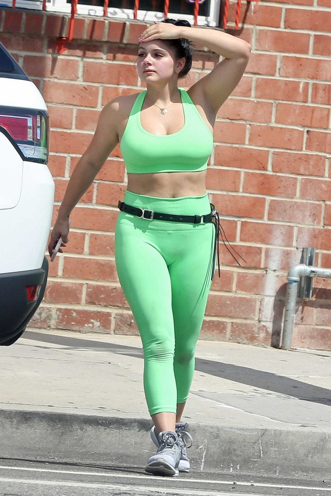 Ariel Winter in a Light Green Workout Clothes Leaves the Gym in Studio City 07/21/2018-1