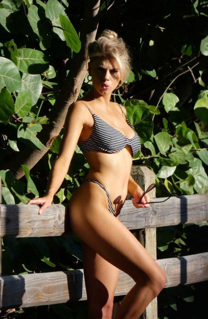 Charlotte McKinney Wears a Striped Bikini During a Photo Shoot in Miami 07/15/2018-4
