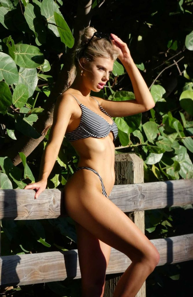 Charlotte McKinney Wears a Striped Bikini During a Photo Shoot in Miami 07/15/2018-5