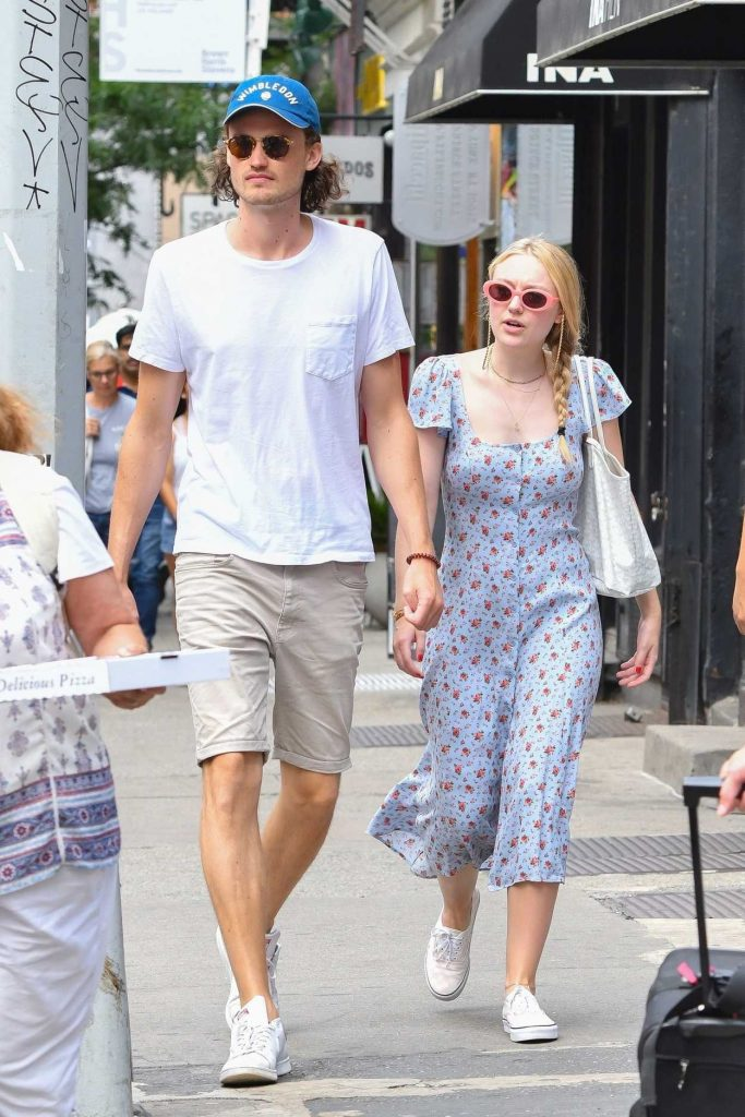 Dakota Fanning in a Summer Long Dress Walks Out with her boyfriend Henry Fre in Soho, NY 07/21/2018-1