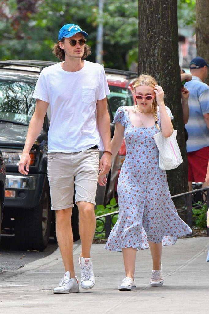 Dakota Fanning in a Summer Long Dress Walks Out with her boyfriend Henry Fre in Soho, NY 07/21/2018-3
