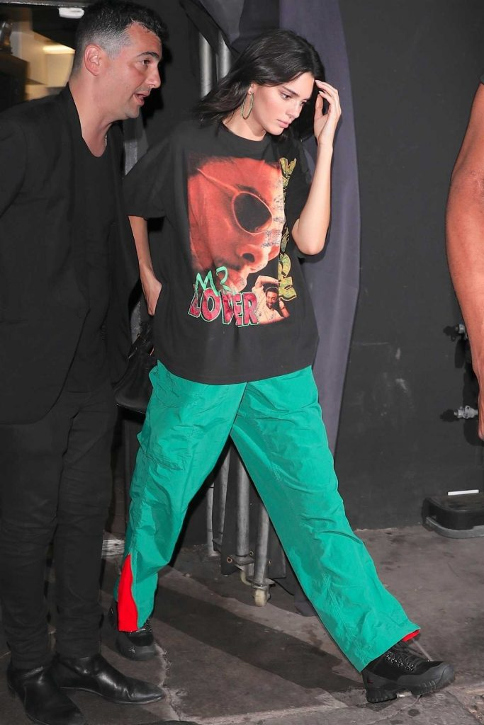 Kendall Jenner in a Green Track Pants