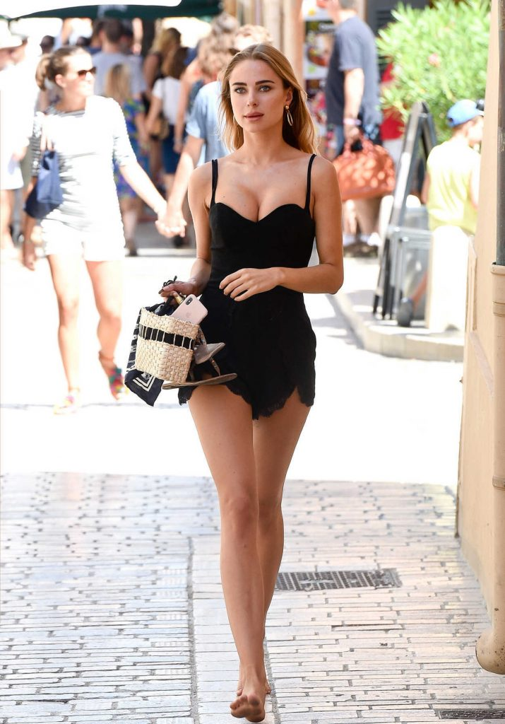 Kimberley Garner in a Short Black Dress