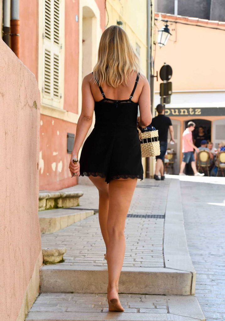 Kimberley Garner In A Short Black Dress Out Shopping In St