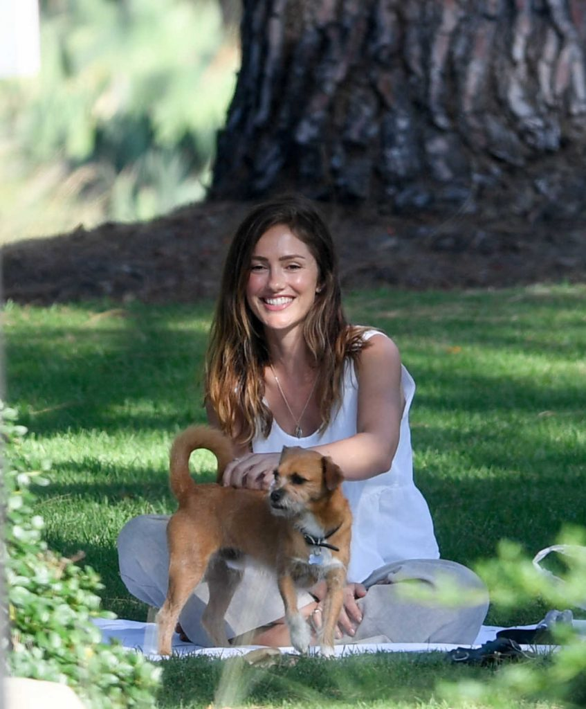 Minka Kelly Takes Her Dog Fred to the Park in Beverly Hills 07/17/2018-5