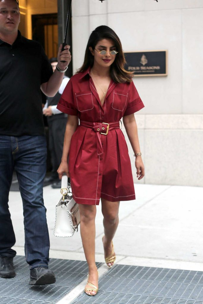 Priyanka Chopra Wears a Red Belted Shirt Dress Out in New York City 07/03/2018-1