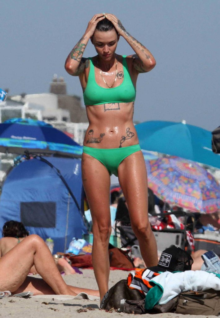 Ruby Rose Wears A Green Bikini On The Beach In Malibu 07
