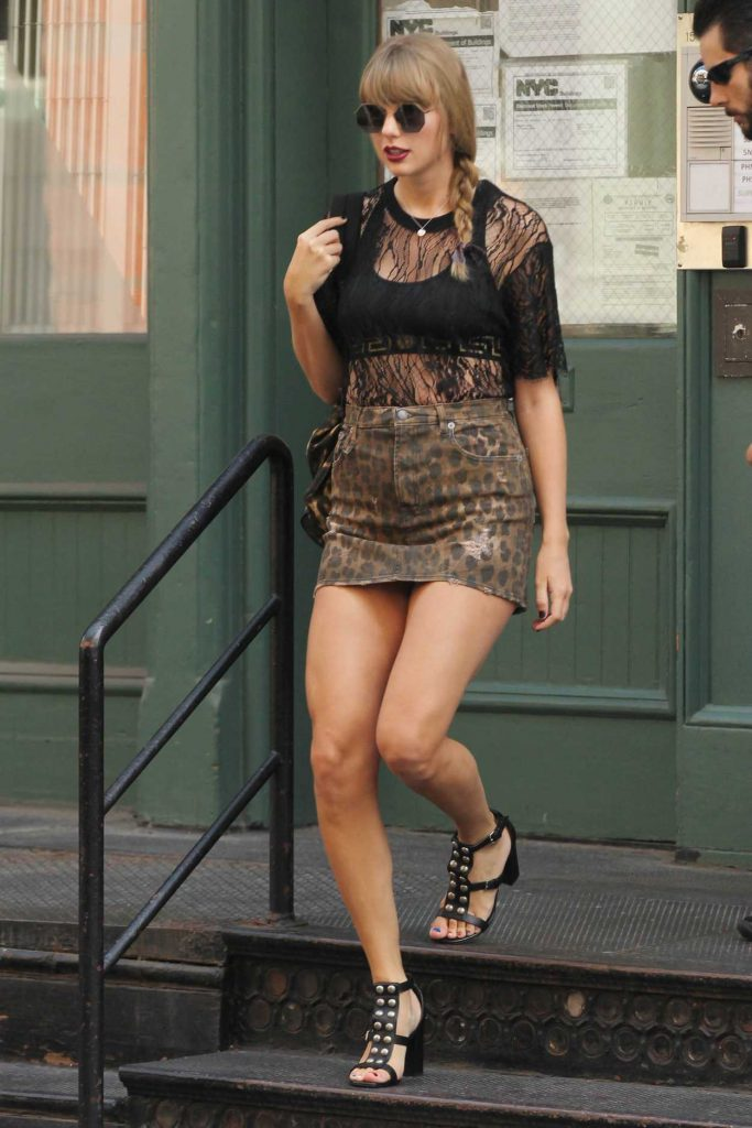 Taylor Swift Wears Animal Print Mini-Skirt Out in ...
