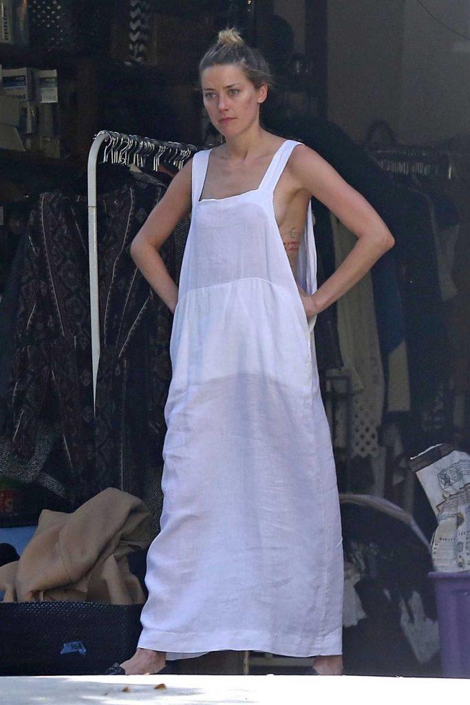 Amber Heard in White Sundress