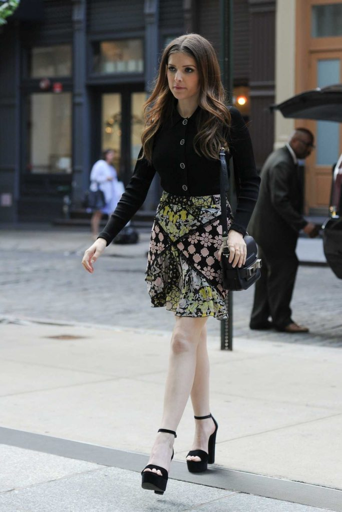 Anna Kendrick in a Short Floral Skirt