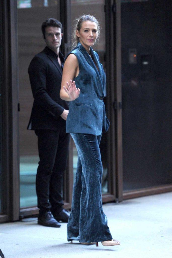 Blake Lively in a Blue Velvet Suit