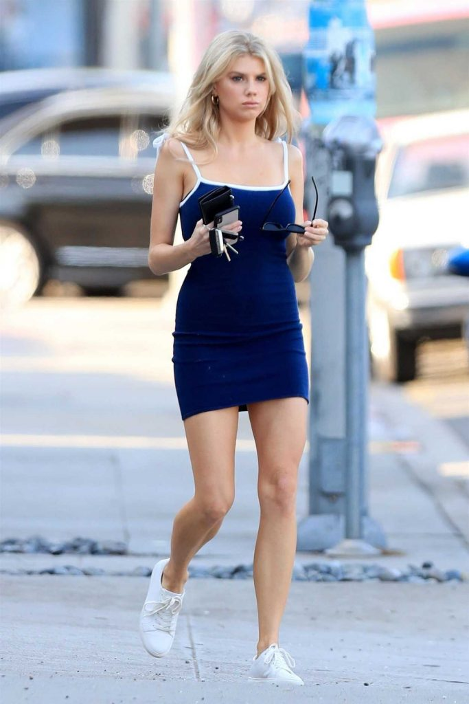 Charlotte McKinney in a Short Blue Dress