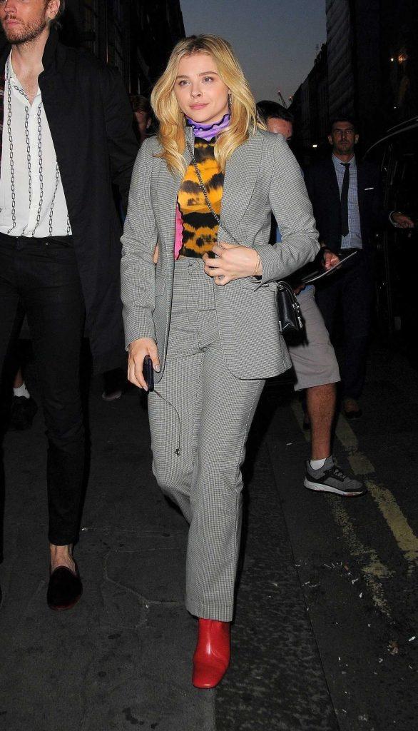 Chloe Moretz in a Gray Pant Suit