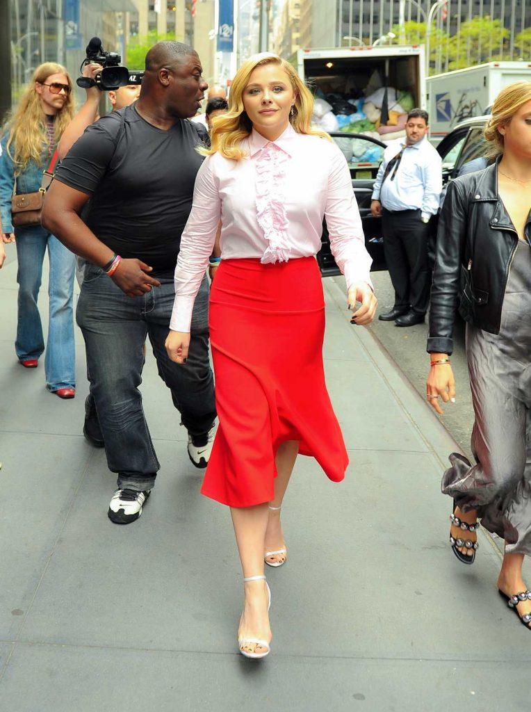 Chloe Moretz in a Long Red Skirt