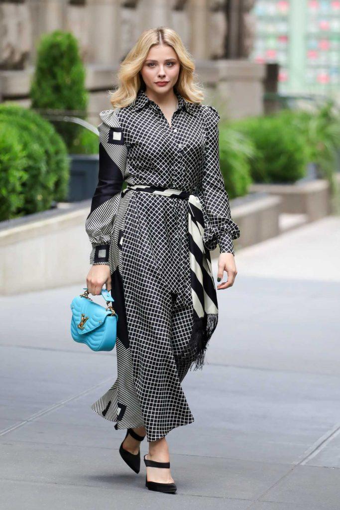 Chloe Moretz with a Blue Louis Vuitton Purse
