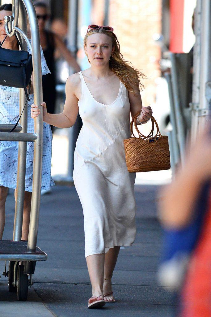 Dakota Fanning in a White Sundress