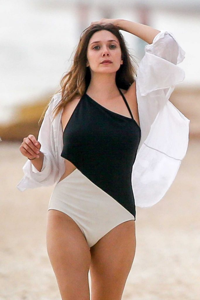 Elizabeth Olsen in a Black and White Swimsuit
