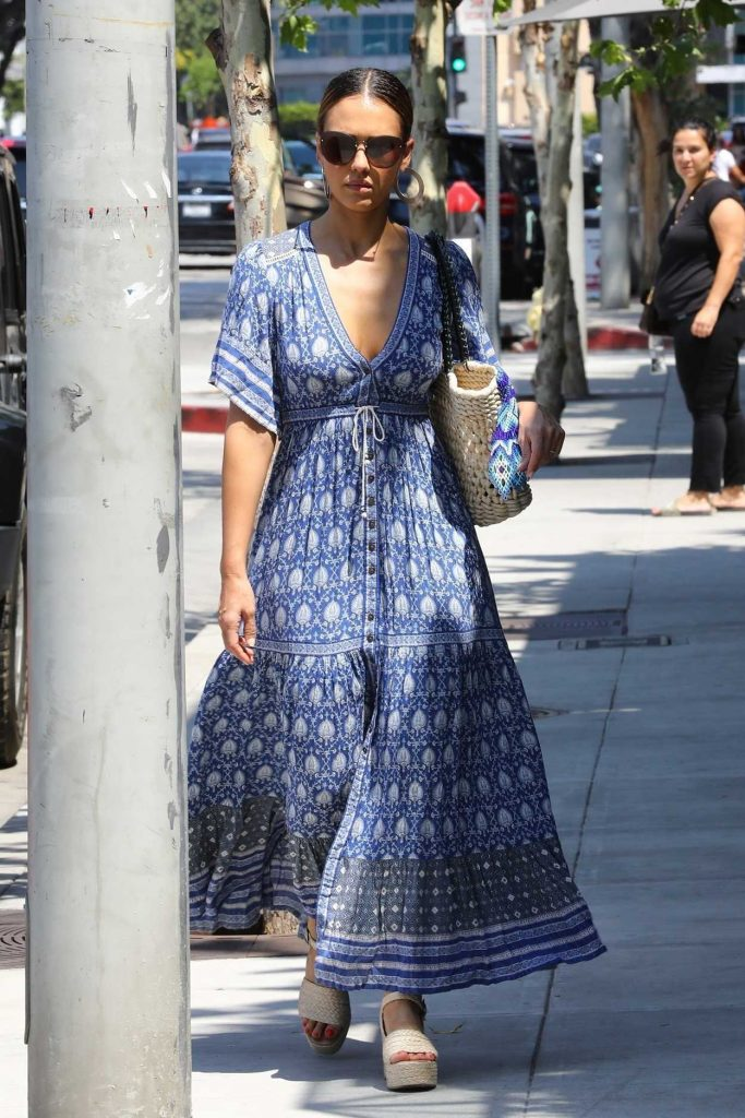 Jessica Alba in a Long Floral Dress