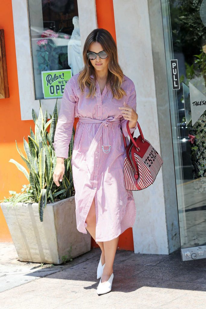 Jessica Alba in a Pink Striped Dress