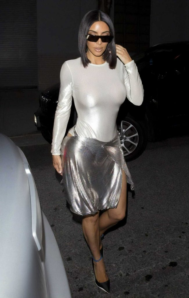 Kim Kardashian in a Shiny White Dress