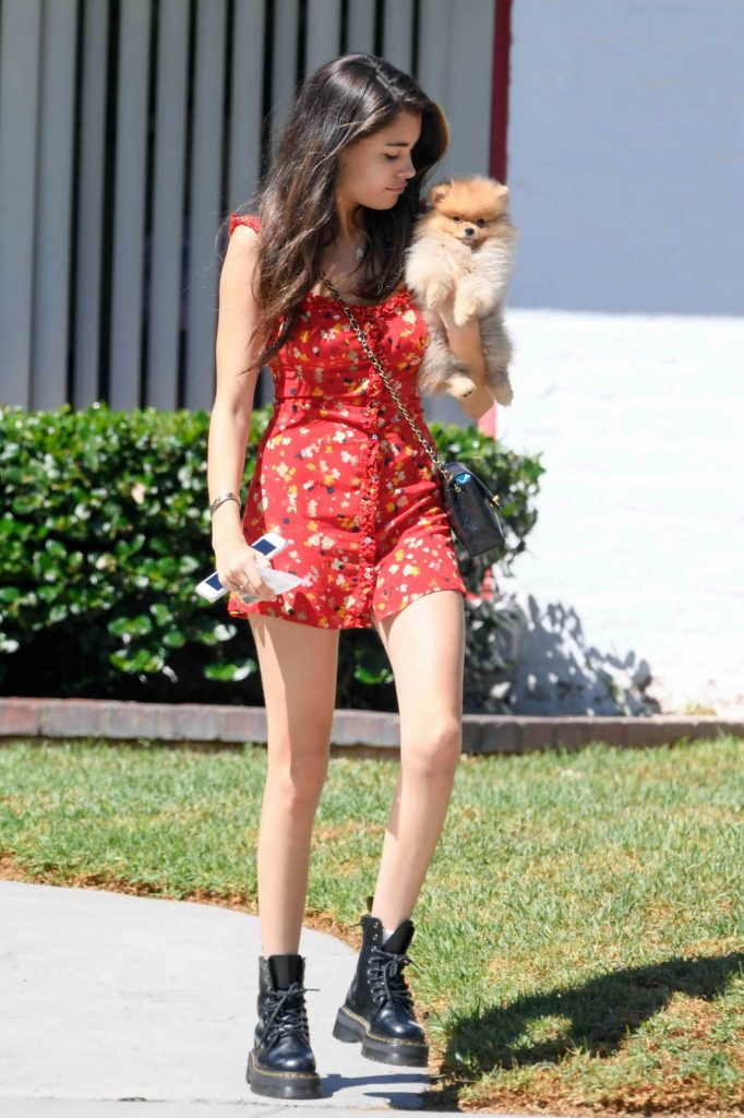 Madison Beer in a Short Floral Dress