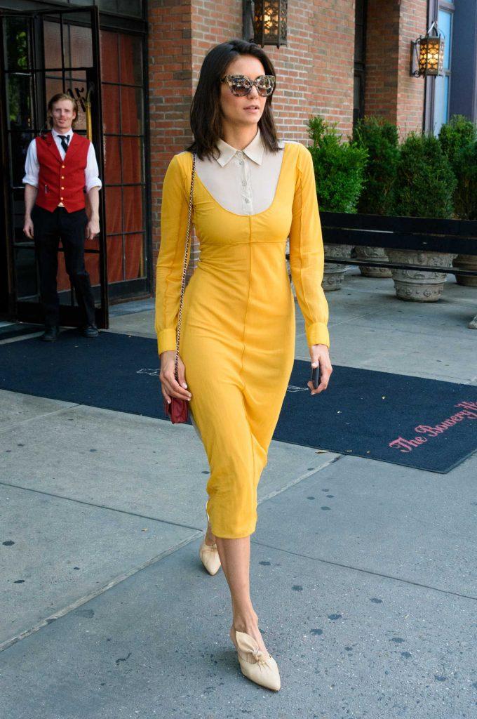 Nina Dobrev in a Yellow Dress