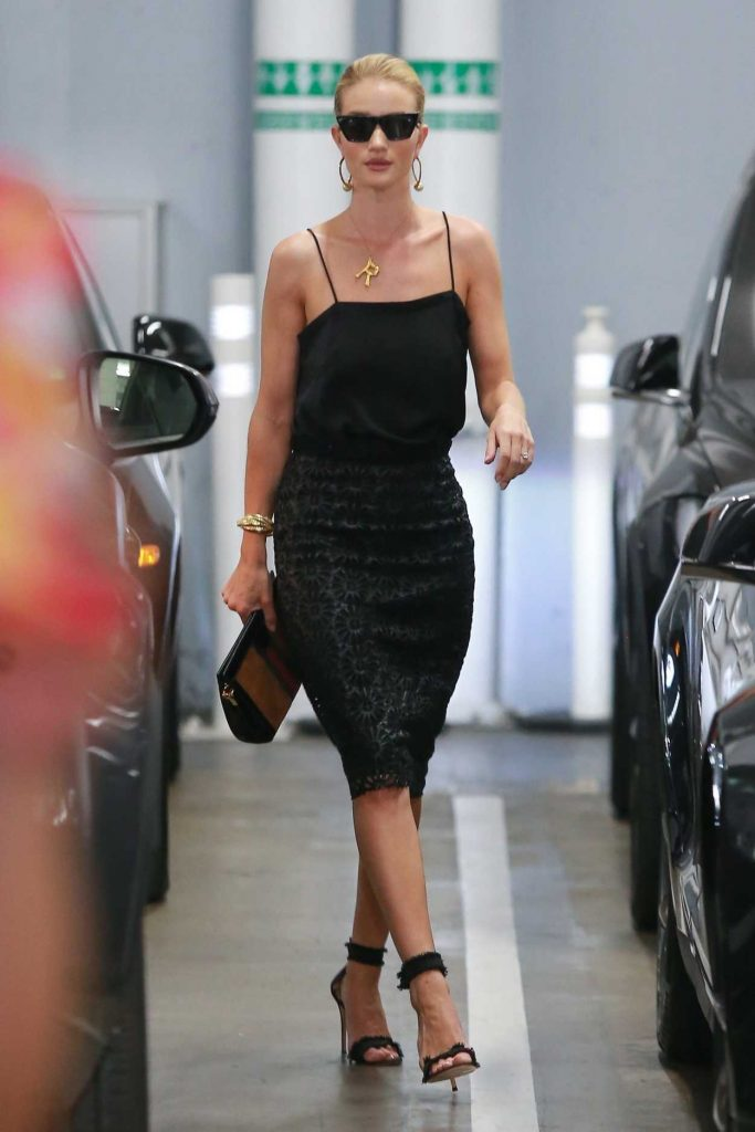 Rosie Huntington-Whiteley in a Black Dress
