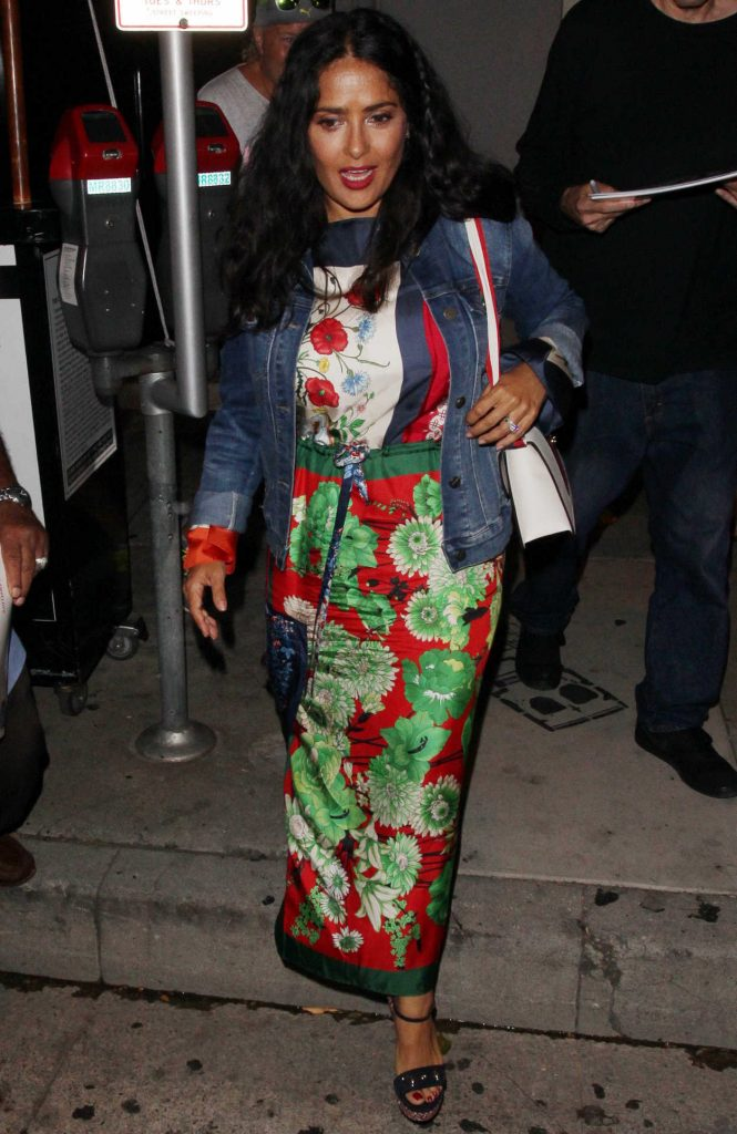 Salma Hayek in a Long Floral Dress