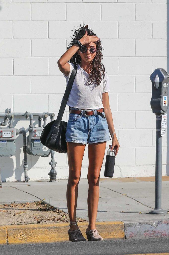 Sarah Hyland in a Blue Denim Shorts