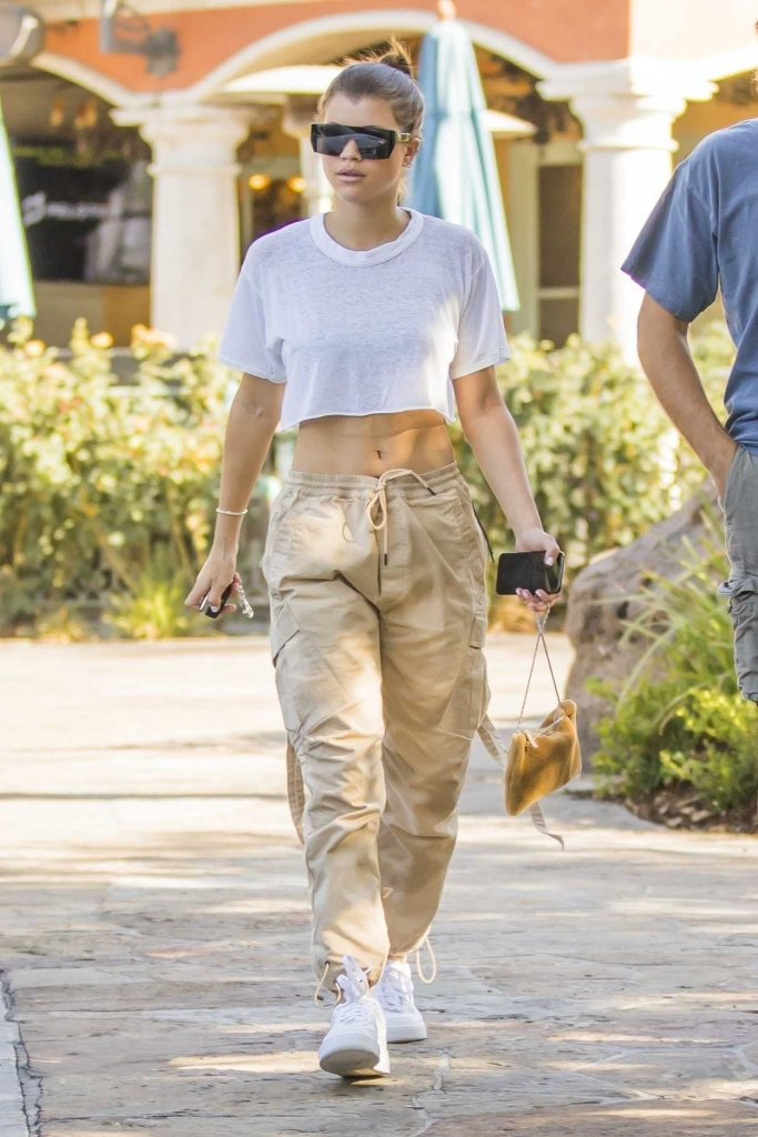 Sofia Richie in a White Cropped T-Shirt