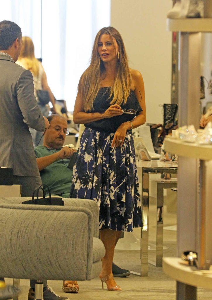 Sofia Vergara in a Floral Print Skirt