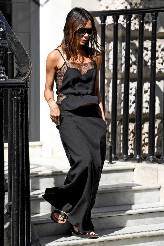 Victoria Beckham in a Long Black Skirt