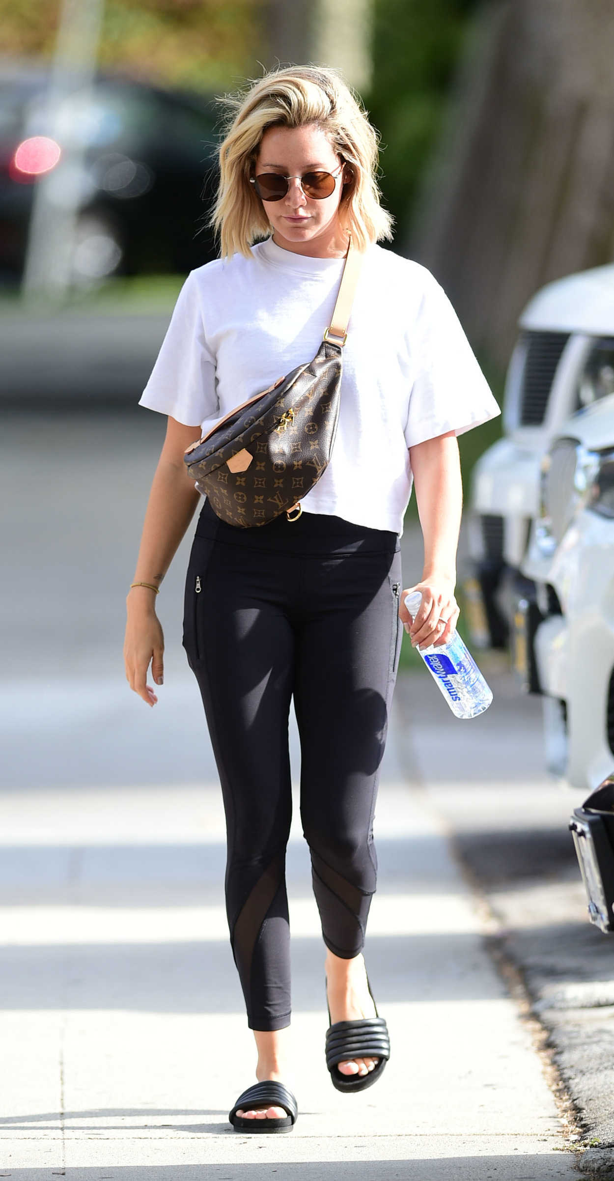 Ashley tisdale in a white t shirt out for a workout in los for T shirts for 15 year olds
