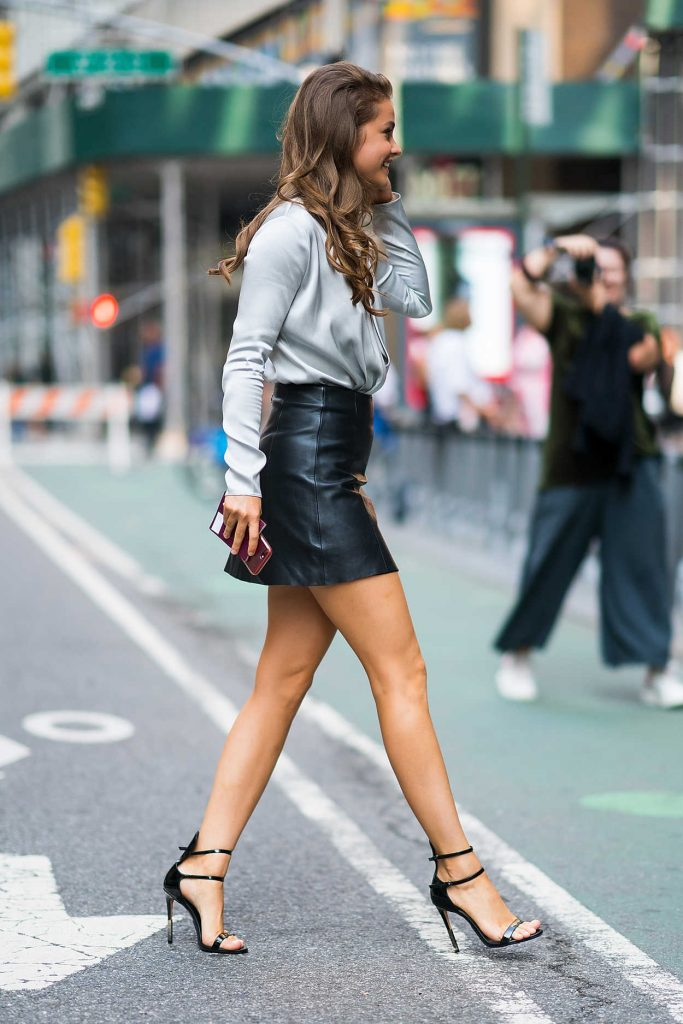 Barbara Palvin in a Black Leather Skirt