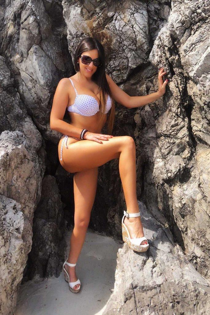 Claudia Romani in a Polka Dot Bikini