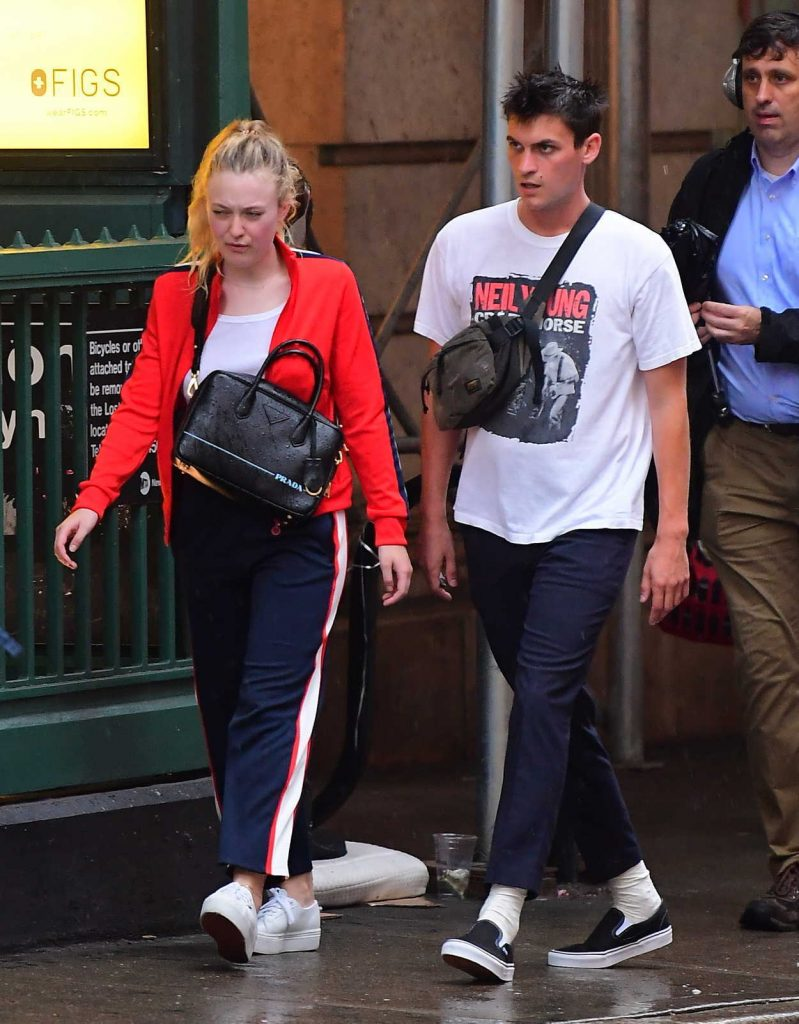 Dakota Fanning in a Red Track Jacket