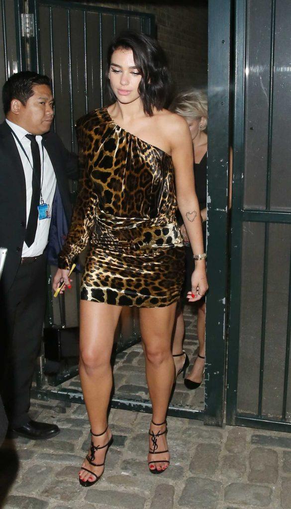 Dua Lipa in a Leopard Print Dress