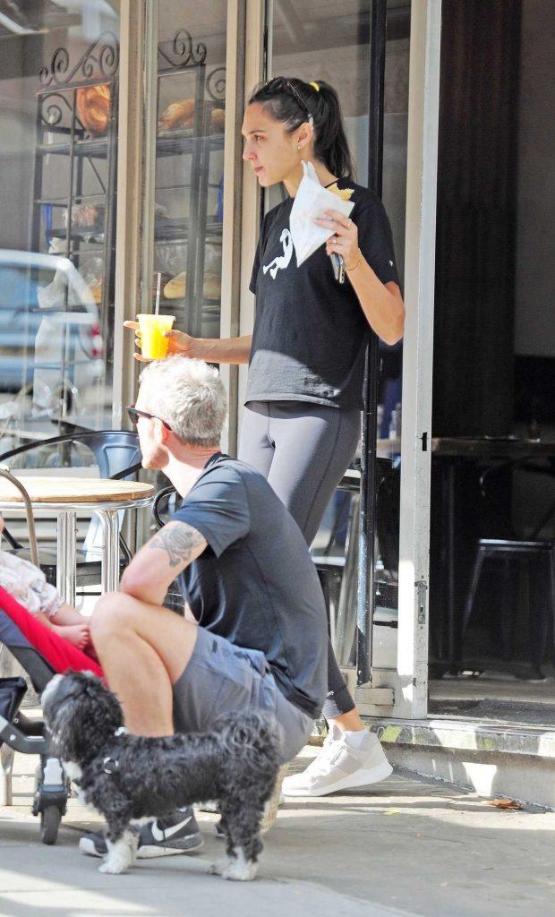 Gal Gadot in a Black T-Shirt